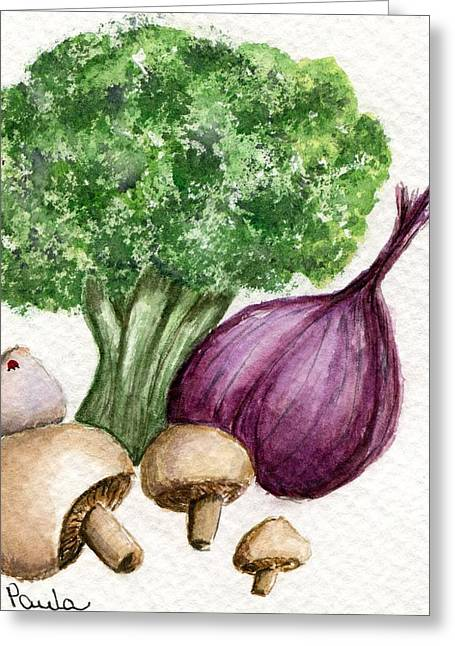 Broccoli Paintings Greeting Cards - Broccoli Forest Greeting Card by Paula Greenlee