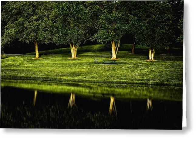 Broemmelsiek Park Green Greeting Card by Bill Tiepelman