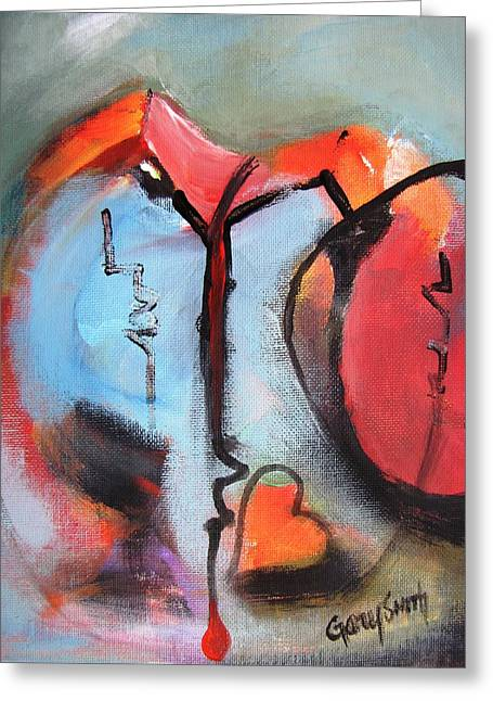 Take Over Paintings Greeting Cards - Broken and Blue Heart Greeting Card by Gary Smith