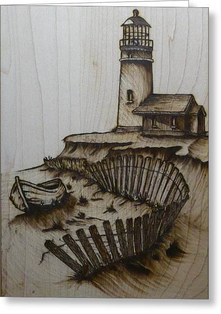 Sketch Pyrography Greeting Cards - Broken Beacan Greeting Card by Chad Bridges