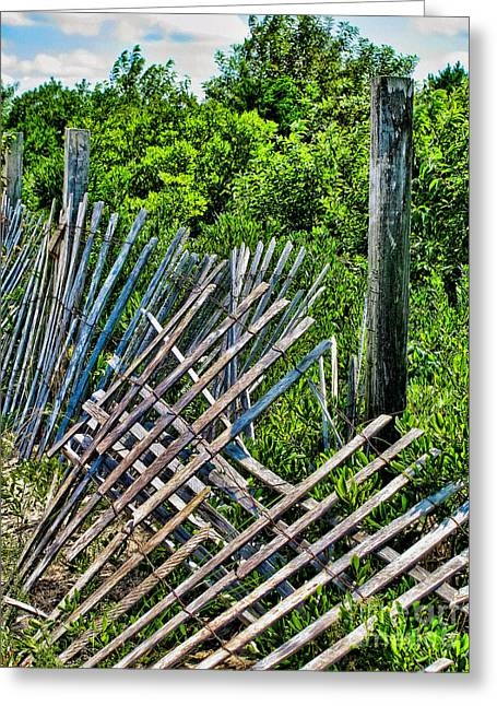 Beach Images Greeting Cards - Broken Beach Fence Greeting Card by Colleen Kammerer