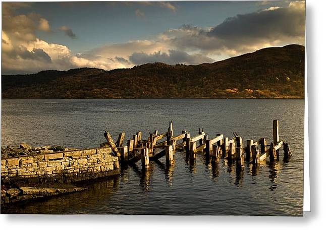 Woodland Scenes Greeting Cards - Broken Dock, Loch Sunart, Scotland Greeting Card by John Short