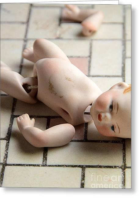 Baby Doll Greeting Cards - Broken Doll on Tile Floor Greeting Card by Jill Battaglia