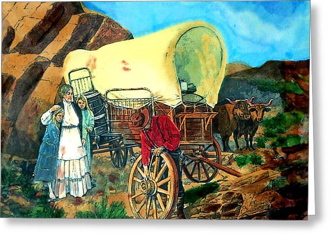 Wagon Wheels Pyrography Greeting Cards - Broken Down Greeting Card by Mike Holder
