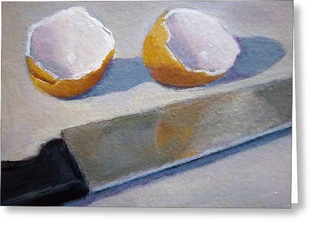 Scramble Egg Greeting Cards - Broken Egg Shells Greeting Card by Joyce Geleynse