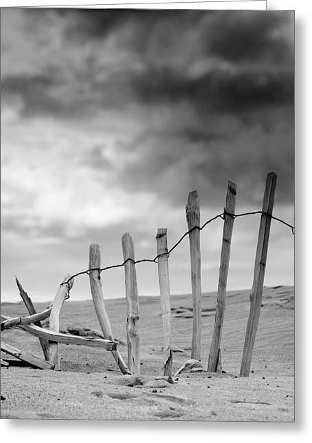Worn In Greeting Cards - Broken Fence In Dune, South Shields Greeting Card by John Short