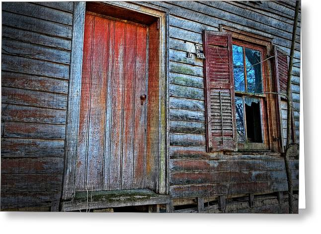 Broken Shutters Greeting Cards - Broken Glass Greeting Card by Kathy Jennings