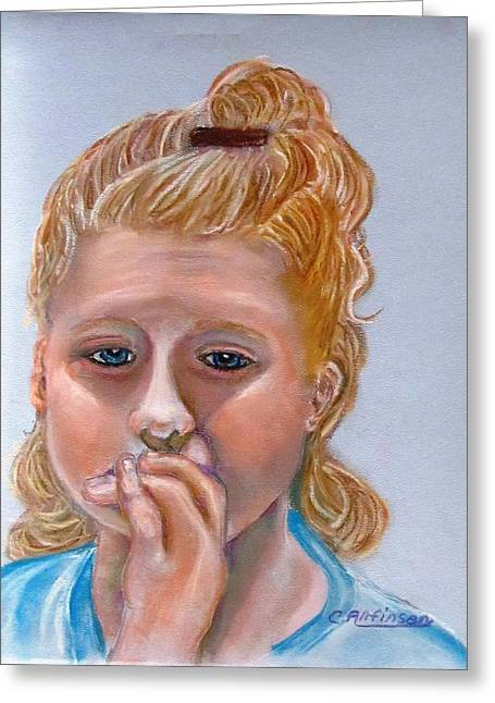 Sadness Pastels Greeting Cards - Broken Hearted Greeting Card by Carol Allen Anfinsen