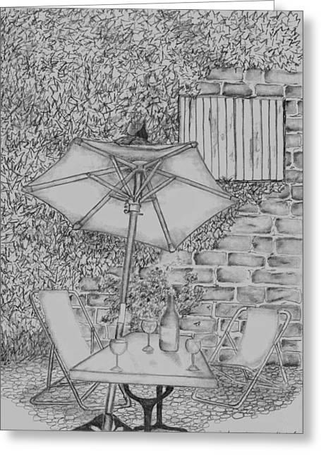 Glass Wall Drawings Greeting Cards - Broken umbrella Greeting Card by John Stuart Webbstock