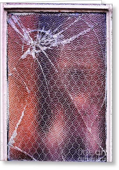 Warm Light Greeting Cards - Broken Window Greeting Card by HD Connelly