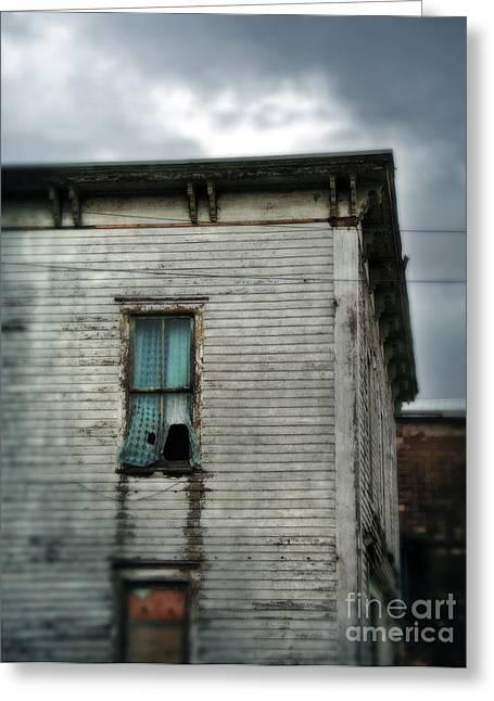 Clapboard House Greeting Cards - Broken Window in Abandoned House Greeting Card by Jill Battaglia