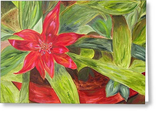 Bromeliad Paintings Greeting Cards - Bromeliad Bloom II Greeting Card by Maria Soto Robbins