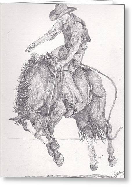 Broncos Drawings Greeting Cards - Bronc Rider Greeting Card by Emily Dieleman
