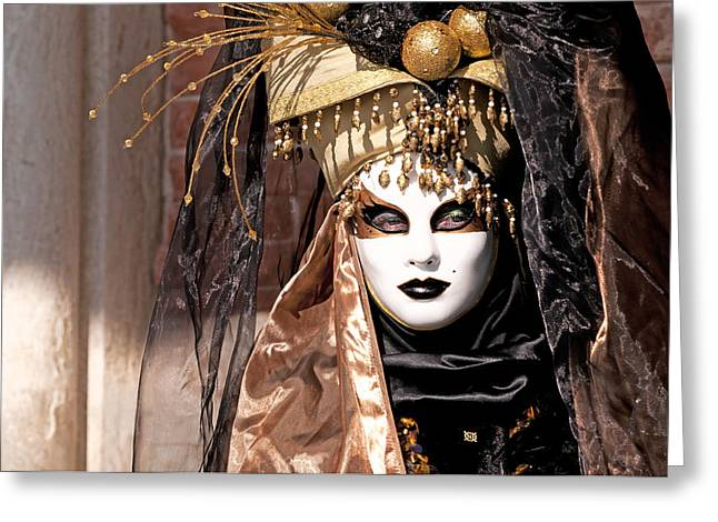 Bronce Mask Greeting Card by Karin Haas