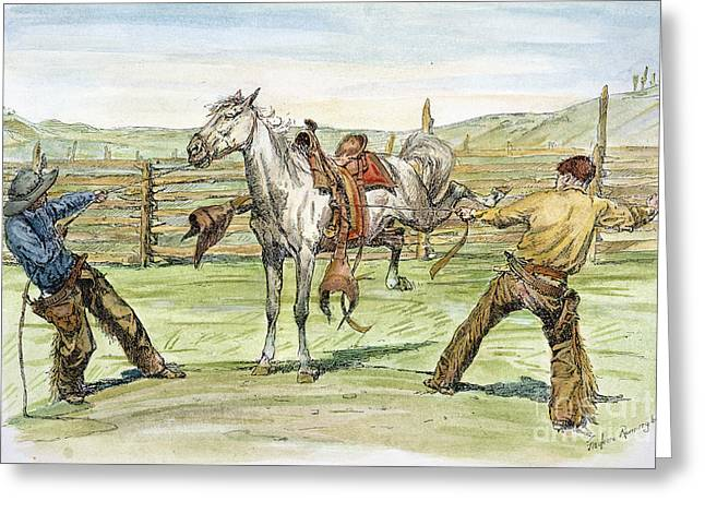 Remington Photographs Greeting Cards - Bronco Busters Greeting Card by Granger