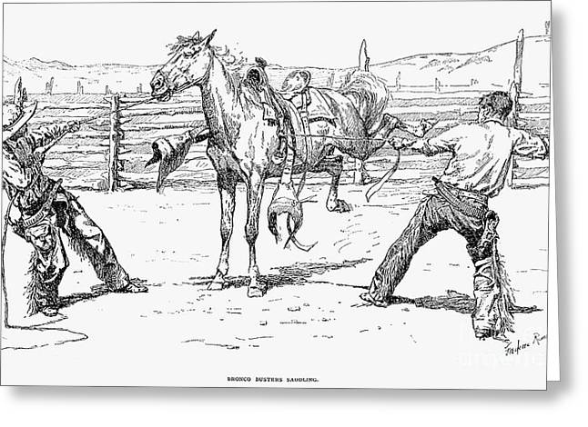 Remington Photographs Greeting Cards - Bronco Busters Saddling Greeting Card by Granger