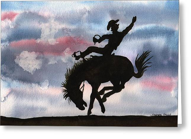 Watercolor Greeting Cards - Bronco Busting Greeting Card by Sharon Mick