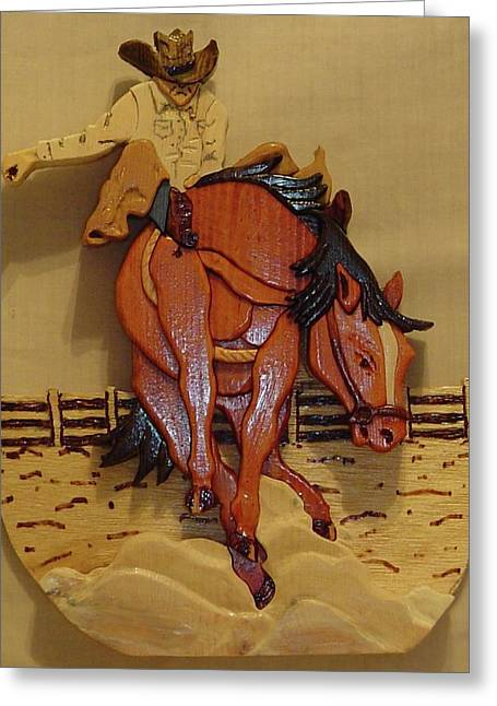 Intarsia Sculptures Greeting Cards - Broncobuster Greeting Card by Russell Ellingsworth