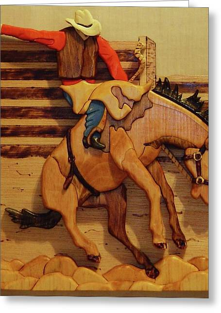 Intarsia Sculptures Greeting Cards - Broncrider Greeting Card by Russell Ellingsworth