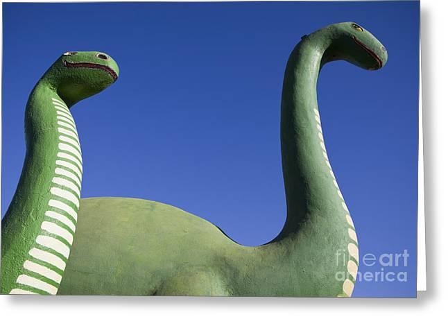 Brontosaurus Greeting Cards - Brontosaurus Dinosaur Statues Greeting Card by Paul Edmondson