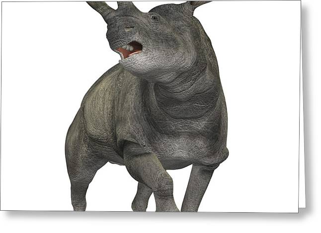 Rhinoceros Greeting Cards - Brontotherium Is A Rhinocerous-like Greeting Card by Corey Ford