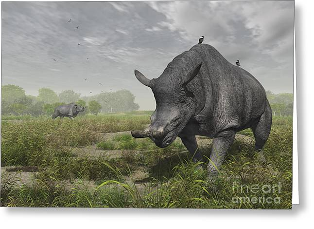 Generate Life Greeting Cards - Brontotherium Wander The Lush Late Greeting Card by Walter Myers