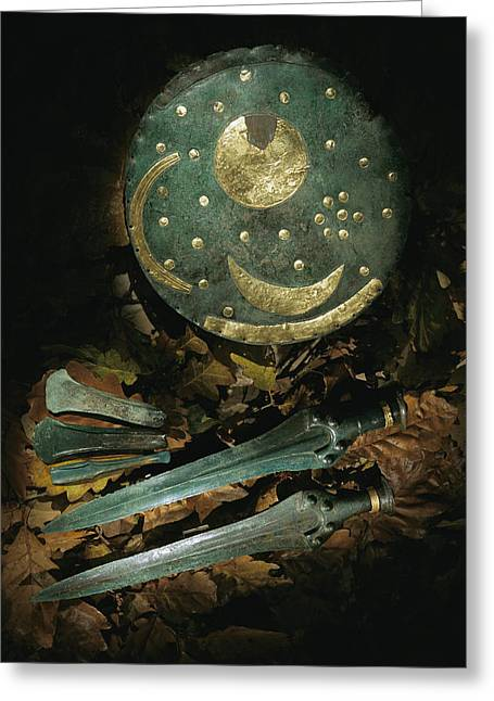 Antiquities And Artifacts Greeting Cards - Bronze age swords, axes, Greeting Card by Kenneth Garrett