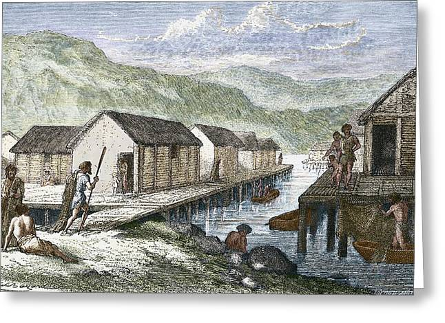 Bronze Age Village, 19th Century Artwork Greeting Card by Sheila Terry
