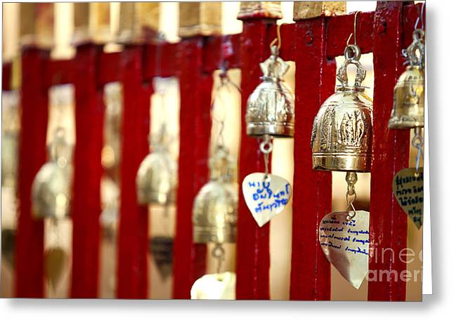 Doi Greeting Cards - Bronze bells in Doi Suthep buddhist temple Greeting Card by Anek Suwannaphoom