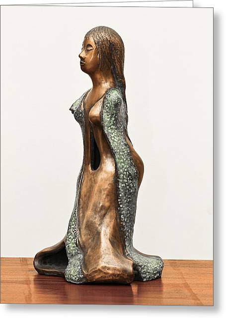 Long Sculptures Greeting Cards - Bronze Hollow Lady in Gown Left View 3 sculpture in bronze and copper green long hair Greeting Card by Rachel Hershkovitz
