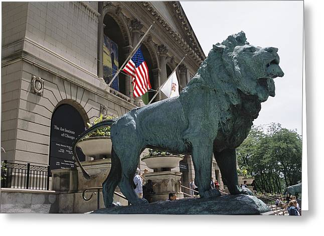Characters And Scenes In History And The Arts Greeting Cards - Bronze Lions Stand Guard Over The Art Greeting Card by Paul Damien