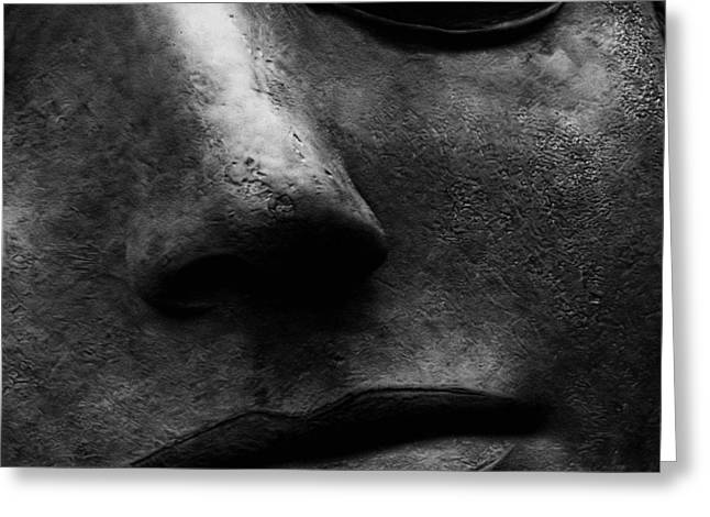 Bronze Sculpture Greeting Cards - Bronze Mask Greeting Card by Andrew Fare