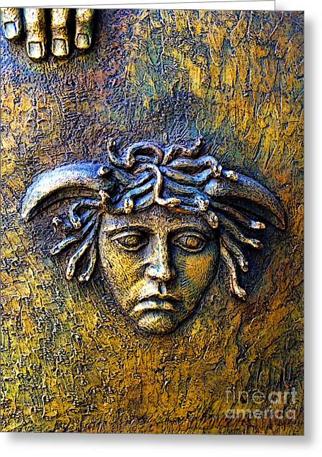 Medusa Greeting Cards - Bronze Medusa Greeting Card by Olden Mexico