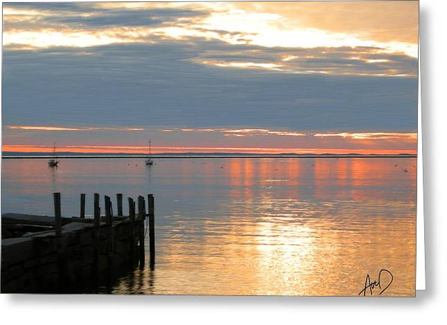 Photorealism Greeting Cards - Bronze Sunset Rocklane Maine Greeting Card by Douglas Auld