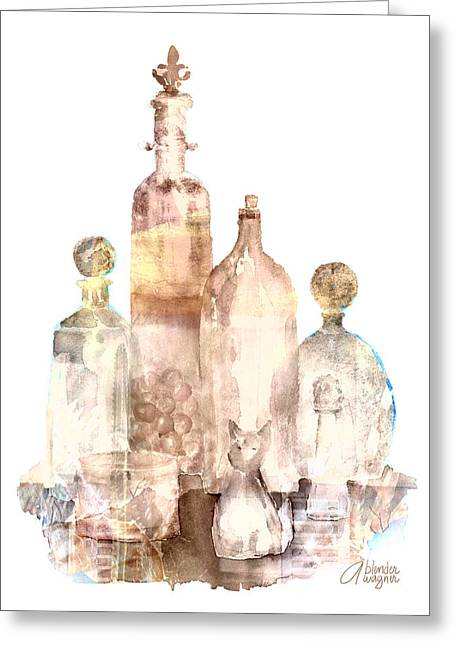 Bronzed Bottles Greeting Card by Arline Wagner