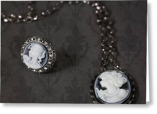 Ancient Jewelry Photographs Greeting Cards - Brooch And Necklace Greeting Card by Joana Kruse