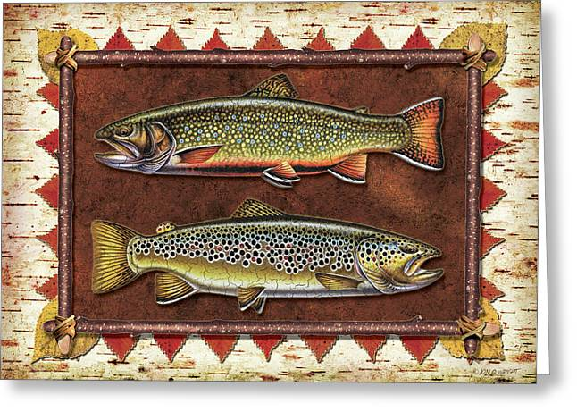 Trout Fishing Paintings Greeting Cards - Brook and Brown Trout Lodge Greeting Card by JQ Licensing
