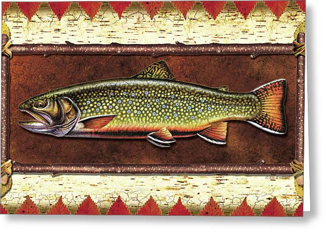 Trout Fishing Paintings Greeting Cards - Brook Trout Lodge Greeting Card by JQ Licensing
