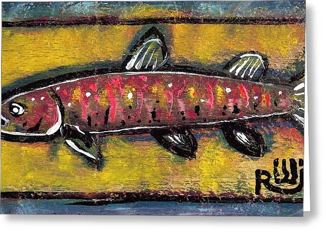 Neo Mixed Media Greeting Cards - Brook Trout Greeting Card by Robert Wolverton Jr