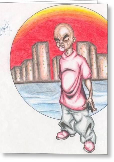 Ambition Drawings Greeting Cards - Brooklyn Boy Greeting Card by Mr Ambition