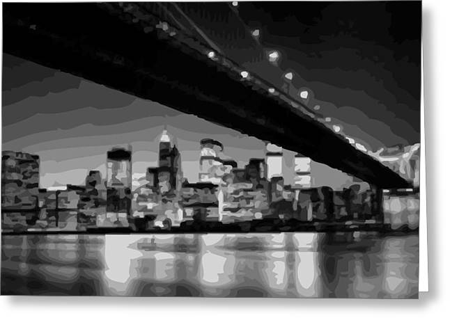 True Melting Pot Greeting Cards - Brooklyn Bridge @ Night BW16 Greeting Card by Scott Kelley