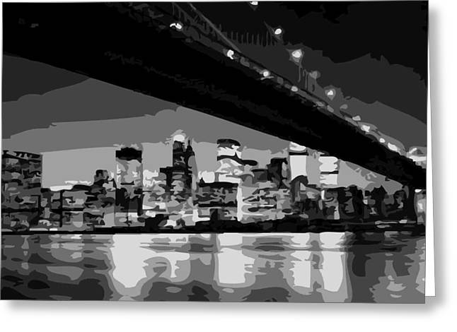 True Melting Pot Greeting Cards - Brooklyn Bridge @ Night BW8 Greeting Card by Scott Kelley