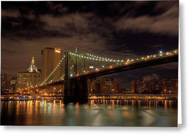 Staten Island Greeting Cards - Brooklyn Bridge at Dusk Greeting Card by Shawn Everhart