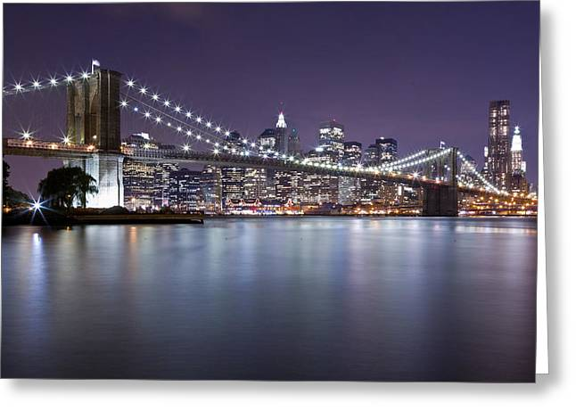 Blackrussianstudio Greeting Cards - Brooklyn Bridge at Night 3 Greeting Card by Val Black Russian Tourchin