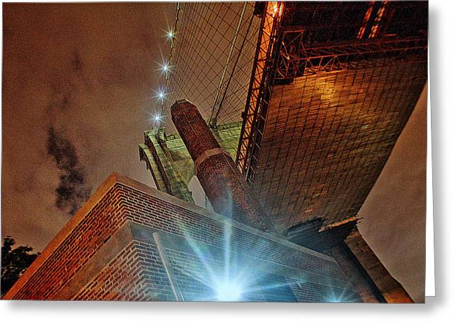 Brooklyn Bridge At Night Greeting Card by Alex AG