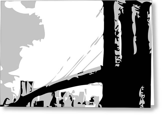 True Melting Pot Greeting Cards - Brooklyn Bridge BW Greeting Card by Scott Kelley