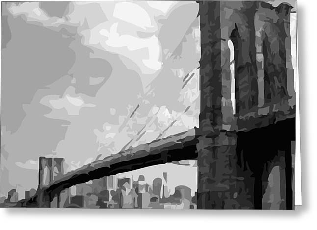 True Melting Pot Greeting Cards - Brooklyn Bridge BW16 Greeting Card by Scott Kelley