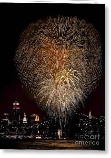 Pier 17 Greeting Cards - Brooklyn Bridge Celebrates Greeting Card by Susan Candelario