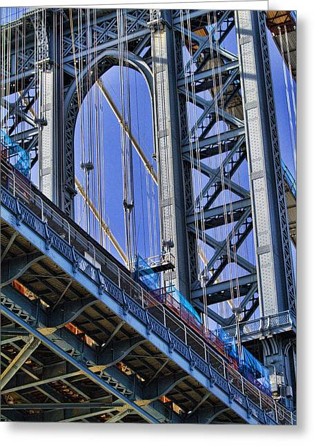 Manhattan Greeting Cards - Manhattan Bridge close-up Greeting Card by David Smith