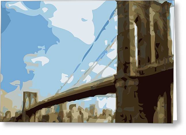 True Melting Pot Greeting Cards - Brooklyn Bridge Color 16 Greeting Card by Scott Kelley